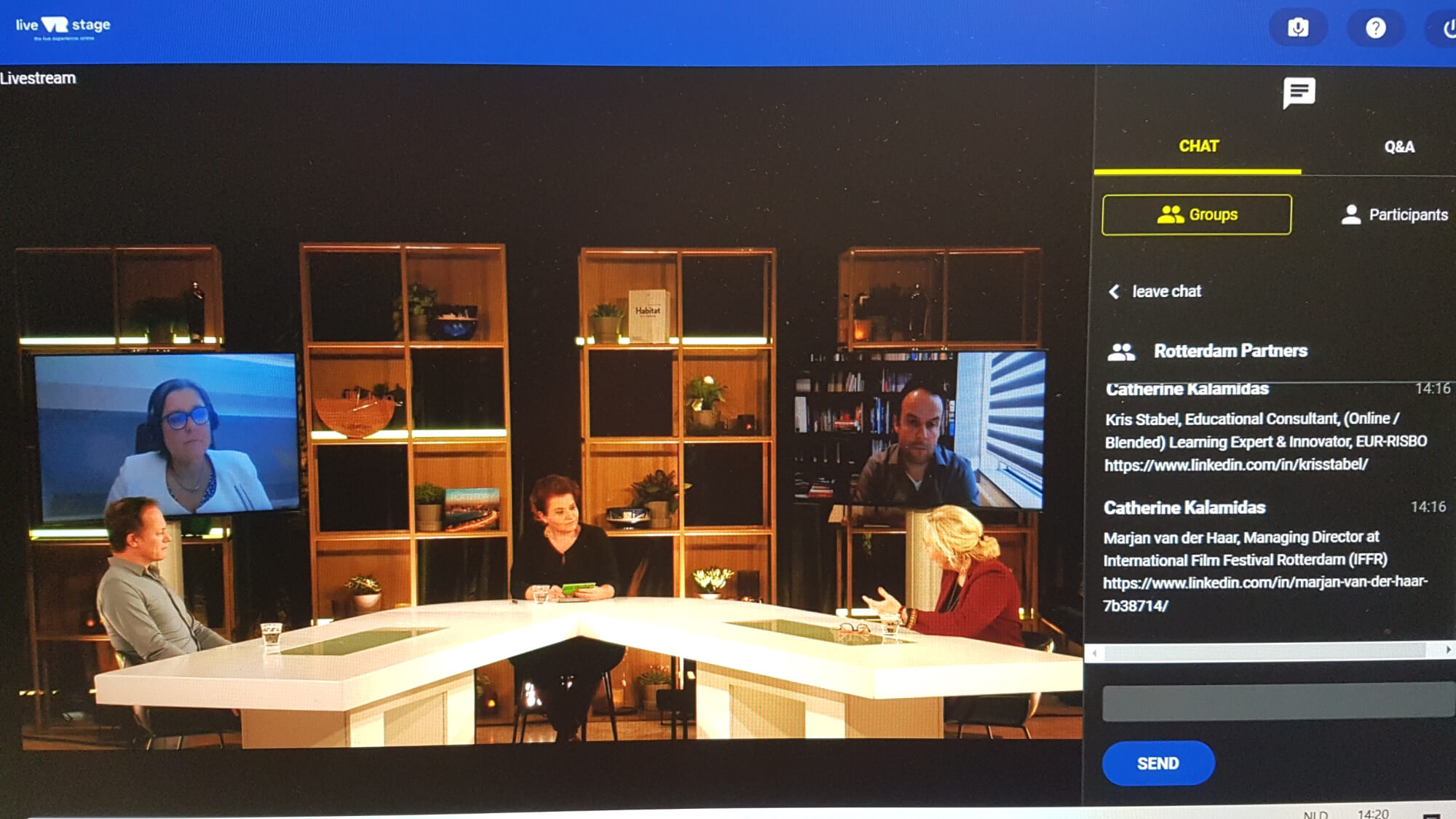 In de Live VR Stage studio sprak Mirjam van de Kamp met experts Carola van der Hoeff (FIP), Marjan van der Haar (IFFR), Yuri van Geest (Singularity University) en Kris Stabel (EUR-Risbo).